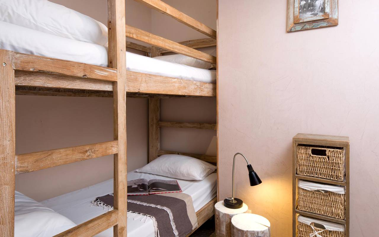 Wooden bunk bed hotel in camargue