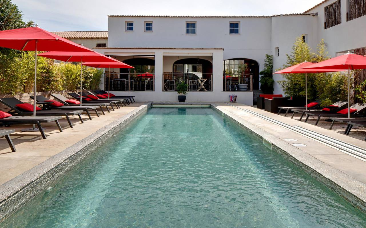 Outdoor covered pool hotel in camargue